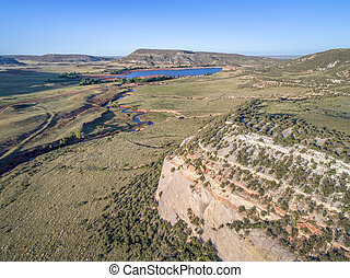 northern Colorado foothills aerial view - Park Creek and...