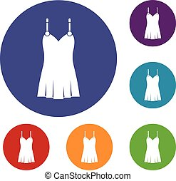Nightdress icons set