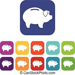 Piggy icons set