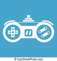 Gamepad icon white isolated on blue background vector...