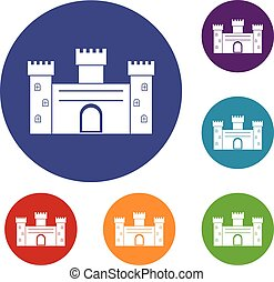 Medieval fortification icons set in flat circle red, blue...