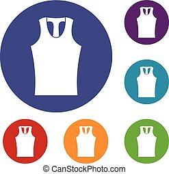 Sleeveless shirt icons set