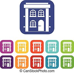 Two-storey residential house icons set