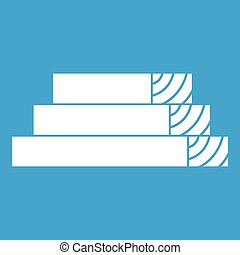 Wooden planks icon white isolated on blue background vector...