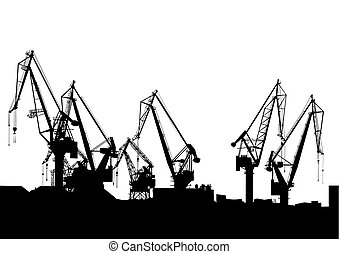 Cargo cran in port - Cargo cranes in the seaport on white...