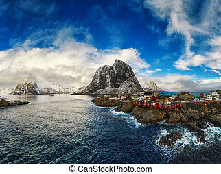Panoramic view of the village of Hamnoy on the Lofoten...