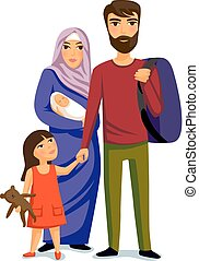 Happy muslim family- parents, their daughter and baby son.