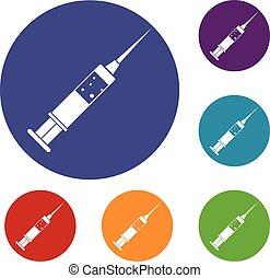 Injection syringe icons set