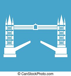 Tower bridge icon white isolated on blue background vector...