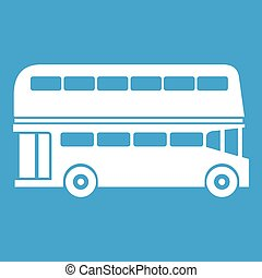 Double decker bus icon white isolated on blue background...