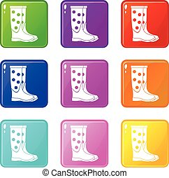 Rubber boots set 9 - Rubber boots icons of 9 color set...