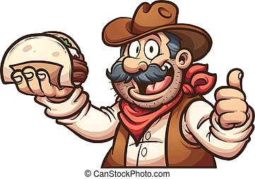 Mexican cowboy holding a taco. Vector clip art illustration...