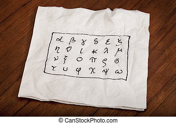 Greek alphabet on a napkin - twenty four letters of Greek...