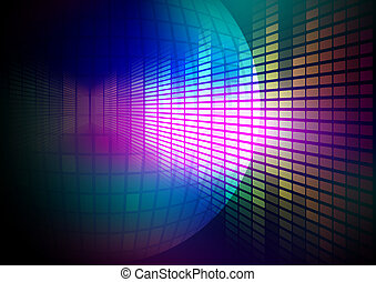 Party Background - Disco Ball On Dark Multicolor Background...