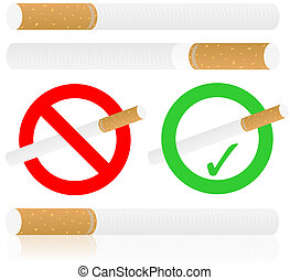 Cigarettes Isolated on White Background and No Smoking Sign...