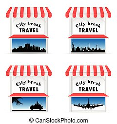 street stall with travel sign illustraton in colorful