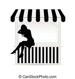 street stall with girl silhouette illustraton in black and...