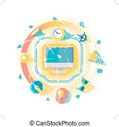 Creative Work On The Computer - Flat illustration of...