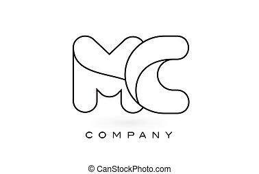 MC Monogram Letter Logo With Thin Black Monogram Outline...