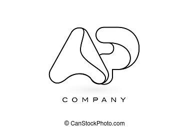 AP Monogram Letter Logo With Thin Black Monogram Outline...