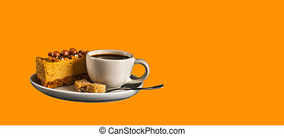 Aromatic black coffee in white cup with cheesecake on white saucer, brown sugar, teaspoon, orange backround