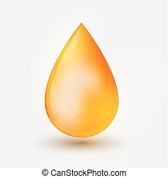 Realistic yellow  oil drop  on white background.