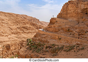 Wadi Qelt in Judean desert around St. George Orthodox...