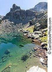 Panorama of lake with clear waters, Rila Mountain, Bulgaria