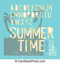 Summer time vector alphabet. Hand drawn letters. Summer beach party poster