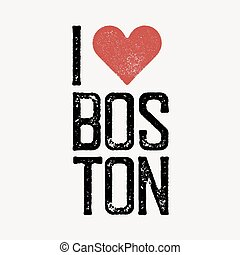 """""""I love Boston"""" text with red heart. T-shirt print design template. Vector illustration. Isolated on white background."""