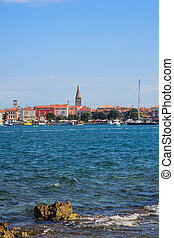 Porec skyline and sea - View of Porec skyline and sea,...