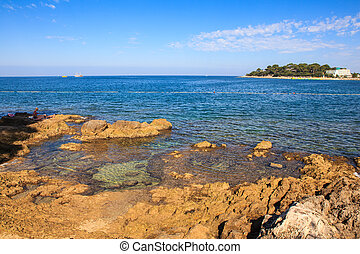 Summer sea in Porec - View of the summer sea in Porec,...