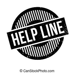 Help Line rubber stamp. Grunge design with dust scratches....