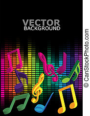 Party Background - Multicolor Notes and Equalizer on Black...