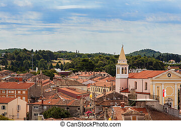 Roofs of Porec - Topview of Porec roofs and the church of...