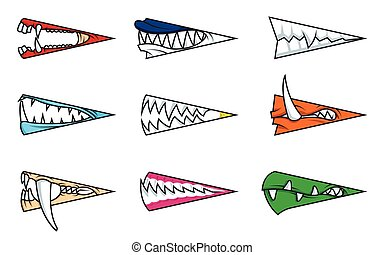 Angry monster mouths cartoon set
