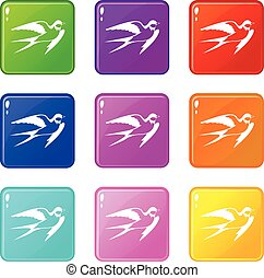 Barn swallow set 9 - Barn swallow icons of 9 color set...