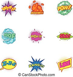 Explosive sticker with pop art shadow icons set