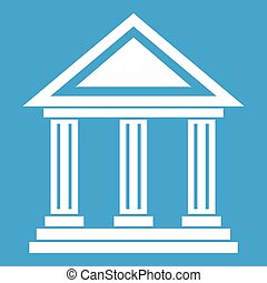 Colonnade icon white isolated on blue background vector...