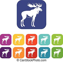 Moose icons set vector illustration in flat style in colors...