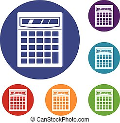 Electronic calculator icons set