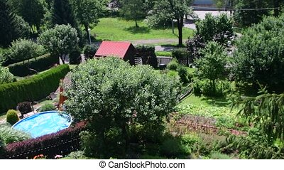 Pan view of modern garden with swimming pool