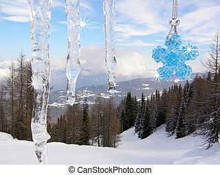 Icicles with Swarovski blue star - Icicles with Swarovski...