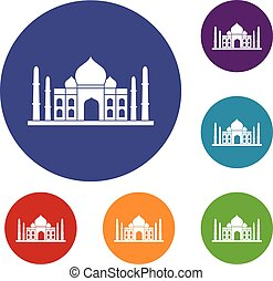 Taj mahal icons set in flat circle red, blue and green color...