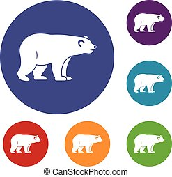 Wild bear icons set