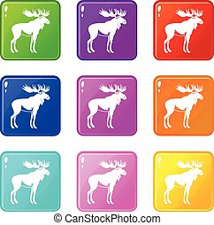 Moose set 9 - Moose icons of 9 color set isolated vector...