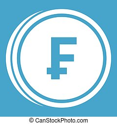 Franc coins icon white isolated on blue background vector...