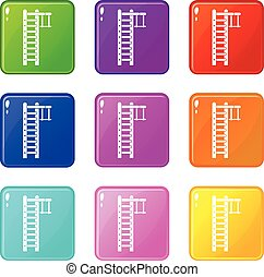 Swedish ladder set 9 - Swedish ladder icons of 9 color set...