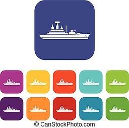 Warship icons set vector illustration in flat style in...