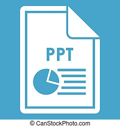 File PPT icon white isolated on blue background vector...